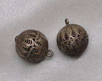 2 Vintage Handmade Filigree Metal Charms Drops Pendants Tarnished Silver Toned