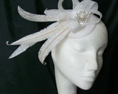 White Ostrich Feather & Sinamay Loop Pearl Rhinestone Wedding Fascinator Mini Percher Hat - Made to Order