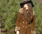 Size Small... 60s/70s Vintage Leather Jacket With Fur Trim... Brown Suede... VILLAGE VANGUARD