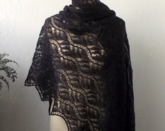 15% OFF Black hand knitted lace stole ,luxury kidsilk  shawl