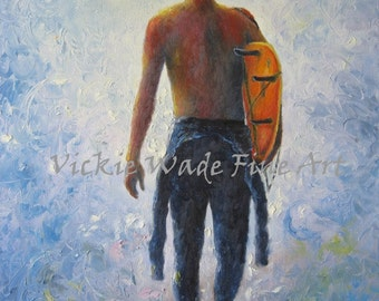Surfer Original Oil Painting 12X16, going surfing, blue, orange, wet suit, young man, surf man, surfer paintings, wall decor Vickie Wade Art
