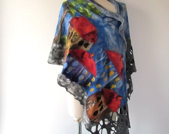 Nuno felted scarf,  House street town city urban Grey Blue  Women shawl Spring scarf Summer scarf plus size shawl
