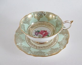 Tea Cup and Saucer Paragon Mint Green Gold Gilt Floral Bouquets