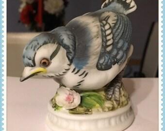 Vintage Lefton Blue Jay Figurine, Porcelain, Hand Painted, KW 1637, Kowa Toki