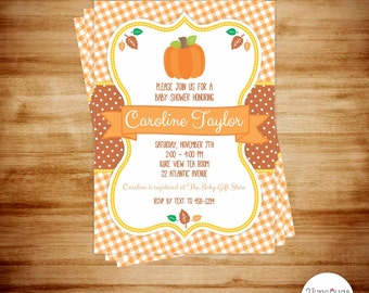 Pumpkin Baby Shower Invitation - Little Pumpkin Baby Shower Invites - Fall Baby Shower Invitations - PRINTABLE, PERSONALIZED