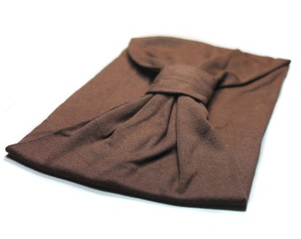 Adult Turban, Brown Turban, Soft Head Wrap, Ear Warmer Headscarf, Brown Hair Band (#1502)