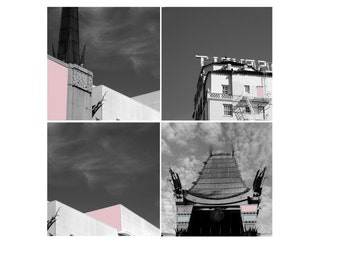 Pink Hollywood Los Angeles Black and White Photography Old Hollywood Architectural Photography