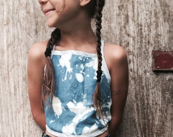 Tie back top acid wash denim crop top. custom made in sizes 1-8 bohemian style childrens clothing