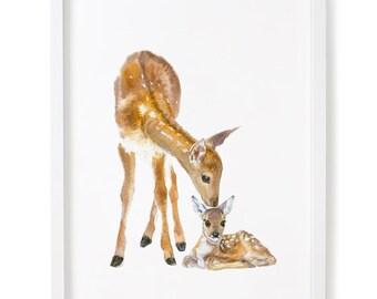 Nursery Woodland Decor, Deer Print, Nursery Forest Art, Deer and Fawn Print, Nursery Decor