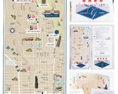 Custom Wedding Map, Infographic with Itinerary, Wedding Map Invitation City Wedding (tri-fold) -- Chicago, IL