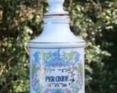 Apothecary Jar for Peroxide Vintage Porcelain Bottle, Ornate Design