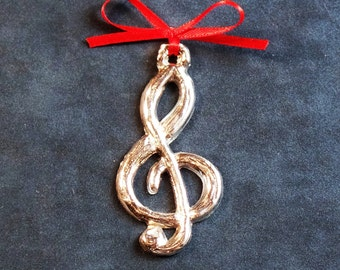 Treble Clef Pewter Ornament