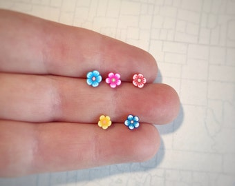 Flower Blossom Pick Your Backing Piercing or Pin. Helix, Lobe Earring, Tragus, Cartilage, Conch, Labret, Daith, Monroe Post or Lapel Pin
