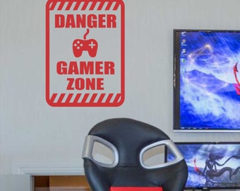 Danger Gamer Zone, Vinyl Wall Lettering, Vinyl Wall Decals, Vinyl Decals, Vinyl Lettering, Wall Decals, Video Game Decal, Kids Room Decal