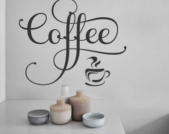 coffee cup decal vinyl wall lettering vinyl decals wall quotes vinyl letters wall words kitchen quote coffee lover gift