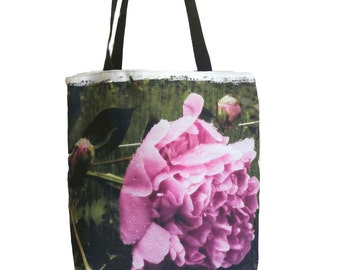 Pink Flower Tote Bag - ON SALE - 40% OFF - Shopping Bag