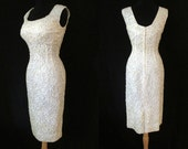 "Dazzling 1950's ""Alex of Miami"" Designer Winter White Sequin Party Cocktail Holiday Dress Rockabilly VLV Pinup Extreme Hourglass Size-Medium"