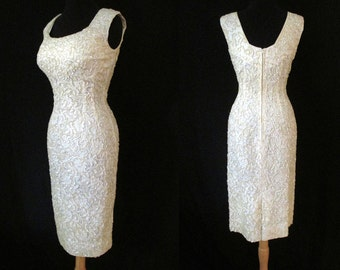 "Dazzling 1950's ""Alex of Miami"" Designer  White Sequin Party Cocktail  Dress Rockabilly VLV Pinup Extreme Hourglass Size-Medium"