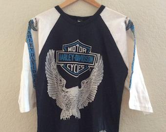 1980s Harley Davidson MINT / NEW 3/4 Sleeve Raglan Baseball T-Shirt