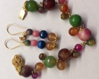 Summer Sale -- Multi-Color Bracelet and Earrings