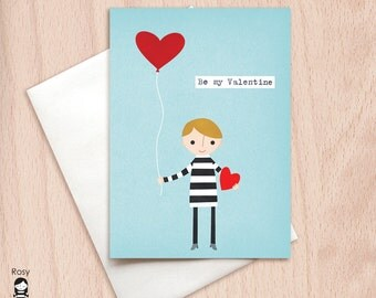 Love is in the Air Boy - Be My Valentine - Love Card - Happy Valentine Greeting Card, Valentine Card, Valentine's Day Card, Greeting Card