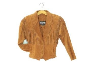 Vintage Suede Jacket * Leather Concho Jacket * Fringe Leather Jacket * Small