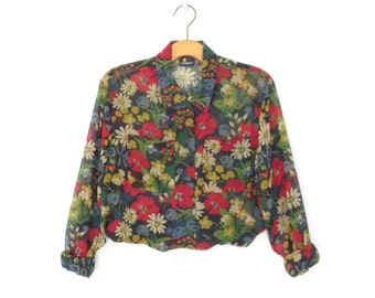 Sheer Floral Blouse * Primary Flower Print Shirt * 80s Blouse * Large