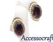 Purple Glass & Faux Pearl Vintage Earrings Signed Accessocraft N.Y.