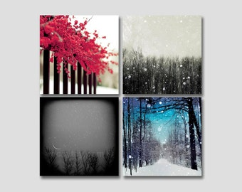 SALE, Winter Art Prints- Set of 4 Prints- Gray, Blue, Red, Christmas Decor, Rustic, Surreal, Romantic