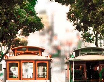 San Francisco Art, Cable Car Print, Beige, Brown, Green, California Print, Retro Decor, San Francisco Photography
