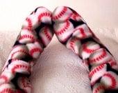 Women's Baseball Design Fleece Socks - Handmade Sports Fan Socks - Gift for Her, Gifts under 10 Dollars, Warm Ladies Winter Socks, Bed Socks