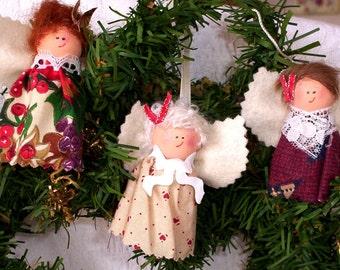 Christmas Angel Ornaments, Three Handmade Angel Ornament Set, Wood Angel Ornaments, Christmas Tree Decoration, Angels, Folk Art Decor,