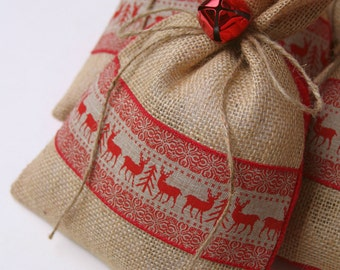 Burlap Gift Bags, Set of FOUR, Shabby Chic Christmas Wrapping, Red and Natural, Red Reindeer and Tree Ribbon, Red Jingle Bell Tie On.