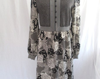 Vintage Goldworm dress, Op Art print, black and cream, polyester, Italy, great condition, VINTAGE size 16
