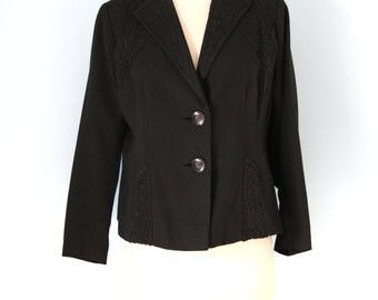 1940s Back Wool Corded Blazer/ 50s black jacket