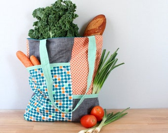 Market Tote, Shopping Bag, Farmer's Market Bag, Weekender Tote, Beach Bag in Gray, Orange and Teal