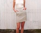 Vintage Kenzo Paris 1990's Linen Tan Minimalist High Waisted Corset Lace Up Maxi Pencil Skirt S/M 28