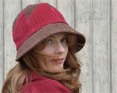 Cloche Hat Red and Brown Patchwork