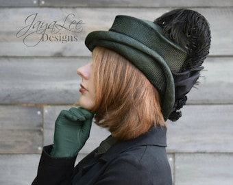 Fall Straw Top Hat or Cloche Hat Victorian Steampunk Style
