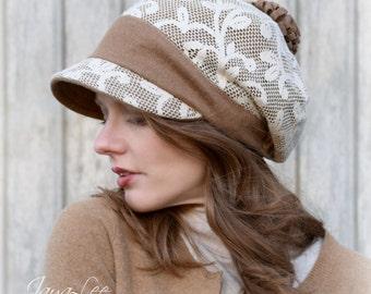 Rustic Lace Hat Slouchy Visor Beanie Newsboy Cap Camel Tan