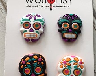 Skull Skeleton Head Buttons Day of the Dead Wuttons Carded Buttons Set of 4