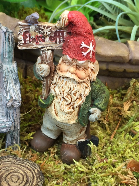 Grumpy Gnome Figurine With Flake Off Sign, Bird and Metal Pick, Miniature Gardening Accessory, Home and Garden Decor, Topper