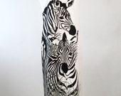 Vintage 1970's Shaheen Dress, Women's Maxi Dress, Black, White, Grey, Zebra & Grass Print, Polyester, Alfred Shaheen, Side Slit, Great Print