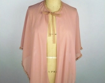 Vintage 20s Cape, Reproduction, Peach Pink Crepe, Beauty Salon Smocks, Sheer, Polyester,  Set of 5, One Size, Wardrobe, Costumes, Hair Salon