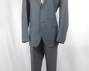 Vintage 1960's Silver 2pc Silver Sharkskin Suit -  Hand Tailored  - Worsted Wool - sz 38-40