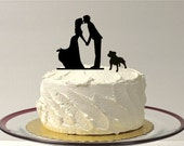 Kissing Couple Silhouette Wedding Cake Topper with Dog Bulldog Pitbull Bully Breed Dog English Bulldog American Bulldog Wedding Cake Topper