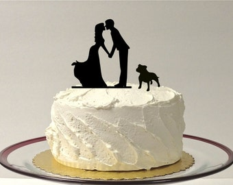 MADE In USA Kissing Couple Silhouette Wedding Cake Topper With Dog Bulldog Pitbull Bully Breed