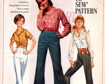 1960s Bell Bottoms & Button Down Crop Top - Vintage Pattern Simplicity 8009 - Bust 36