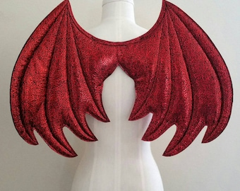 Metallic Red Dragon Wings, Costume wings, Halloween costume, wire free, kids dress up wings, pretend play, Smaug costume, cosplay devil