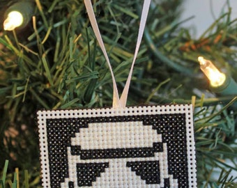 Handmade Storm Trooper Cross Stitch Christmas Ornament